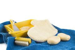 Scrubbing in yellow and blue Stock Photos