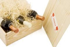 Box with wine Stock Photos