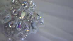 Close of Sparkling Rhinestones on a Wedding Dress HD Video Stock Footage