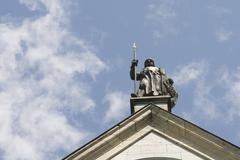 statue top of neuschwanstein - stock photo