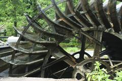 wheel from watermill - stock photo