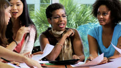 Group Multi Ethnic Teenage Students African American Teacher Stock Footage