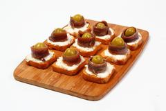 Anchovy canapes Stock Photos