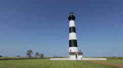 Bodie Island Light station with people visiting Stock Footage
