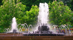 Fountains  in park, Moscow, All Union Exhibition Center. - stock footage