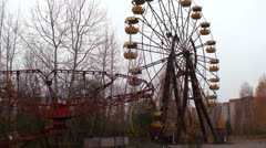 An abandoned amusement park near the Chernobyl nuclear power plant disaster. - stock footage
