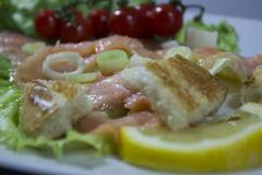 Fresh salad with smoked salmon Stock Photos