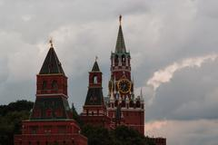 cloudy Moscow kremlin - stock photo