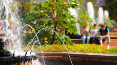 Fountains  in park, Moscow, All Union Exhibition Center.  Stock Footage