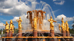 Fountain Frendship of nations in Moscow Exhibition Center. Stock Footage