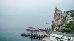 Timelapse of seaside next to Swallow's Nest castle in Crimea, Ukraine Stock Footage