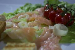 Salmon smoked salad Stock Photos