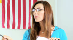 American Caucasian Female College Lecturer Close Up - stock footage