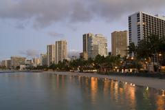 Honolulu waikiki sunrise Stock Photos