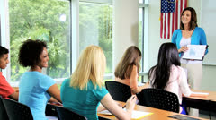 Classroom Teenage Students College Diploma Course Stock Footage