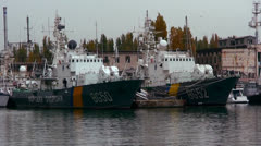 The Russian Navy and warships at dockside. Stock Footage