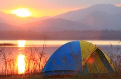 campground beside the lake,national park,thailand - stock photo