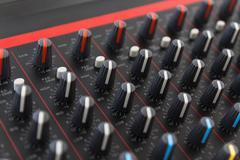 part of control an audio sound mixer - stock photo
