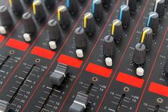 part of control an audio sound mixer - stock photo