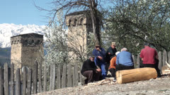 Svaneti towers, people, beautiful, culture, Georgia, South Caucasus Stock Footage