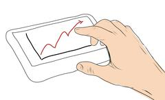Drawing  tablet screen with graph and hand point Stock Illustration