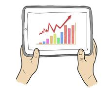 drawing  tablet screen with graph on  hand - stock illustration