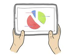 Drawing  tablet screen with graph on  hand Stock Illustration