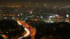 4K Timelapse of Los Angeles from Mulholland Drive by Night  Stock Footage