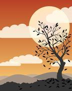 Autumn Tree Illustration - stock illustration
