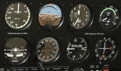 cockpit control panel - stock photo