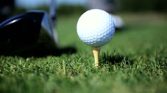 Close Up Golf Ball Tee Golfer Practice Swing Stock Footage
