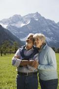 Austria, Ahornboden, Senior couple in mountain secenery Stock Photos