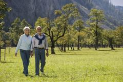 Austria, Ahornboden, Senior couple walking across meadow, hand in hand Stock Photos