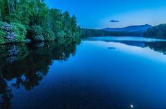 north carolina grandfather mountain julian price memorial park lake blue hour - stock photo