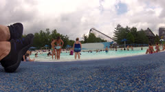 Wave pool at amusement water park Stock Footage