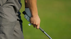 Close Up Gloved Hands Golfer Gripping Golf Club Stock Footage