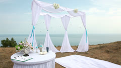 Wedding arch by the sea. Stock Footage