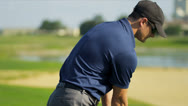 Stock Video Footage of Professional Golfer Teeing Off Close Up