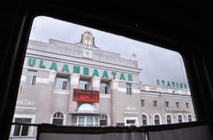 Onboard a Moscow-bound train departing from Ulaanbaatar Station, Mongolia - stock photo