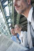 Stock Photo of Germany, Leipzig-Halle, Airport, Business people, waiting, portrait
