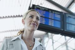 Germany, Leipzig-Halle, Airport, Young Businesswoman, portrait - stock photo