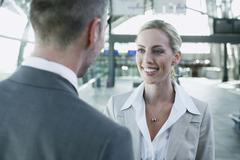 Stock Photo of Germany, Leipzig-Halle, Airport, Business people, smiling, portrait