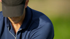 Male Professional Golfer Head Shoulders - stock footage