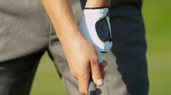 Hands Professional Golfer Gripping Club Correctly Stock Footage