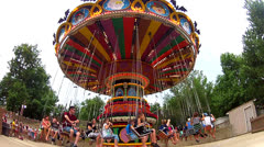 Colorful Carnival ride of Giant Swing Stock Footage