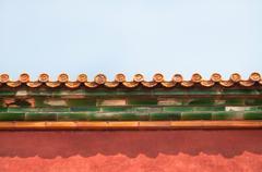 Ornate roof tiles, Forbidden City, Beijing - stock photo
