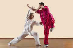 Kung Fu, Changquan, Duilian, Long Fist Style, Two men  doing kung-fu moves - stock photo