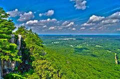 beautiful aerial landscape views from crowders mountain north carolina - stock illustration