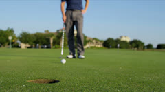 Golfer Lining Up Shot 18th Hole Stock Footage