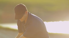 Close Up Male Golfer Playing Out Sand Bunker Stock Footage